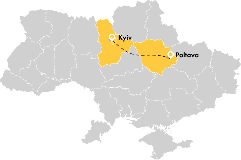 Taxi from Kiev to Poltava
